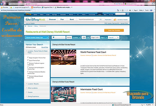 Aprenda a utilizar o sistema de reserva online da Disney
