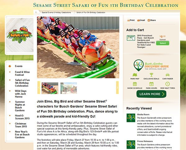 Sesame Street Safari of Fun celebra 5º aniversário no Busch Gardens Tampa