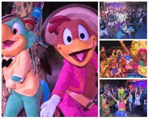 José & Panchito estão se apresentando no Discovery Island Carnivale