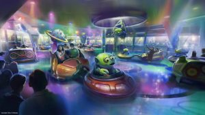A Disney divulgou mais um esboço da atração Alien Swirling Saucers de Toy Story Land