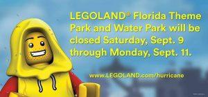 Os parques do Legoland Florida ficarão fechados durante o período de 09 a 11 de setembro de 2017