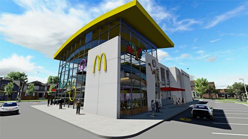 O recém-reformado McDonald's localizado na esquina da International Drive com a Sand Lake Road já está em funcionamento