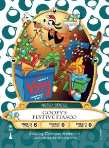 Goofy's Festive Fiasco é a nova carta do Sorcerers of the Magic Kingdom para o evento Mickey's Very Merry Christmas Party