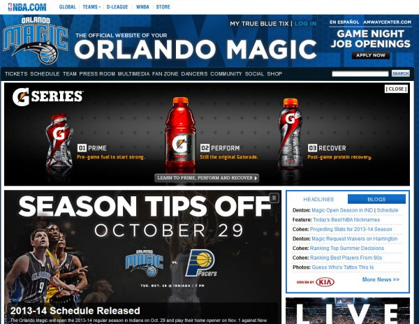 Foi divulgada a tabela de jogos em casa da equipe do Orlando Magic 2013 – 2014