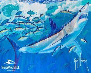 SeaWorld faz parceria com artista Guy Harvey para preservação dos oceanos e tubarões