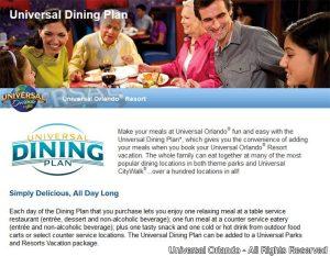 """Um novo """"Dining Plan"""" passa a ser oferecido pela Universal"""