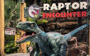 Blue, a Velociraptor da franquia Jurassic World, está na experiência Raptor Encounter