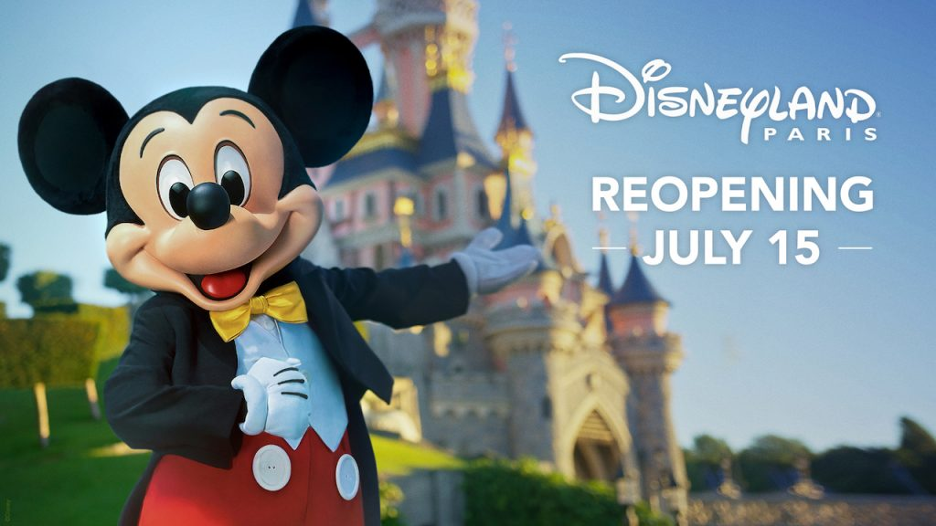 Disneyland Paris Reopening Date graphic with Mickey Mouse