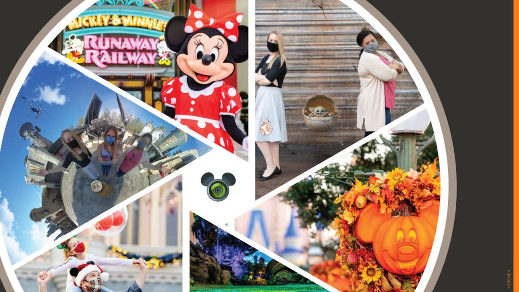 Collage of Disney PhotoPass Service images from Walt Disney World Resort
