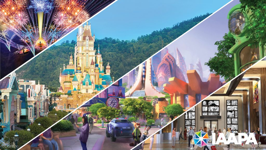 Collage of renderings for upcoming experiences at Disney Parks
