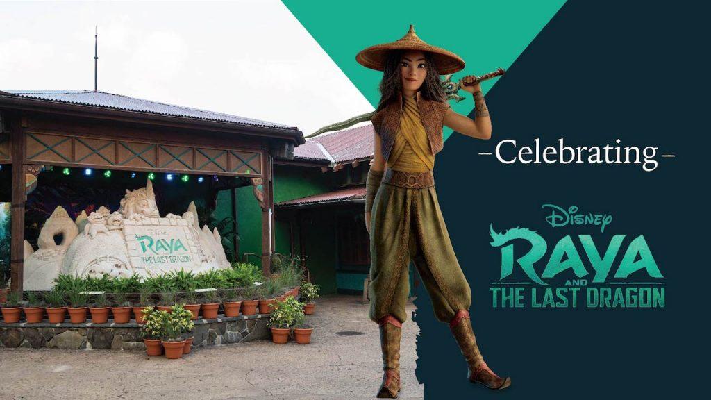 Sand sculpture celebrating Raya and the Last Dragon at Disney's Animal Kingdom