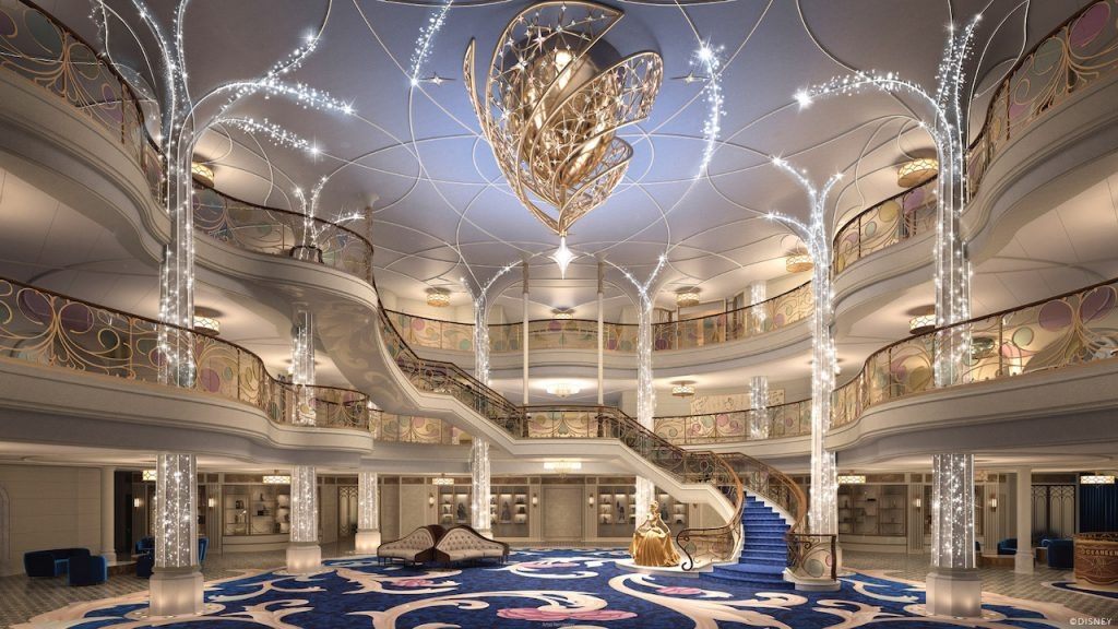 Rendering of the lobby area in the new Disney Wish