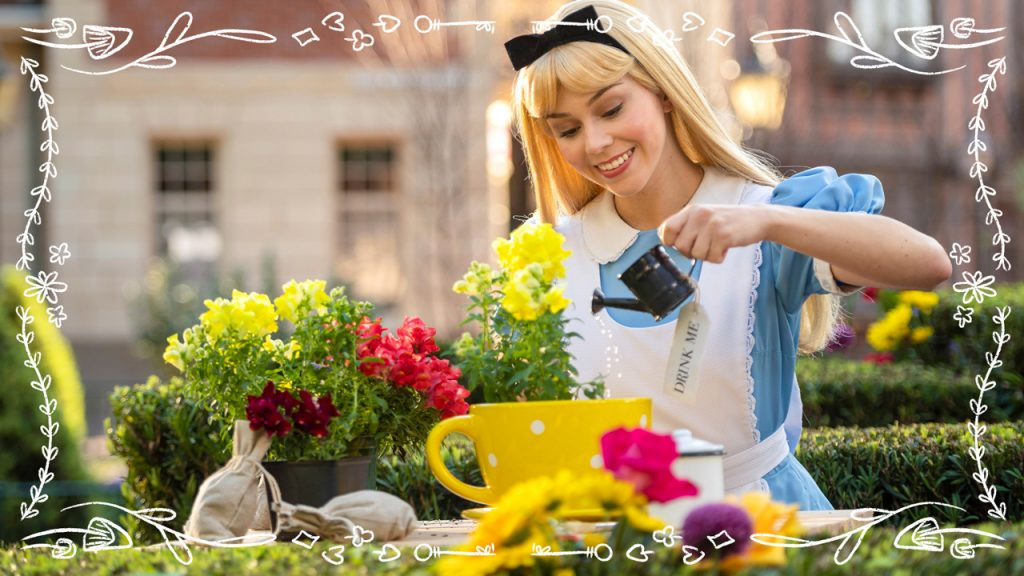 Alice planting and watering flowers