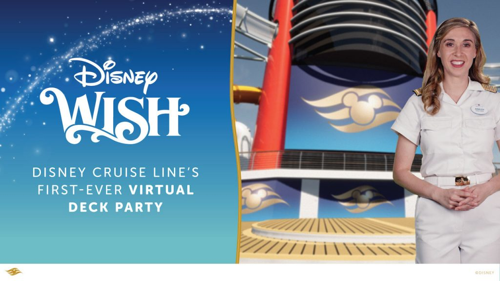 Disney Wish Virtual Deck Party graphic with Disney Cruise Director Ashley Long