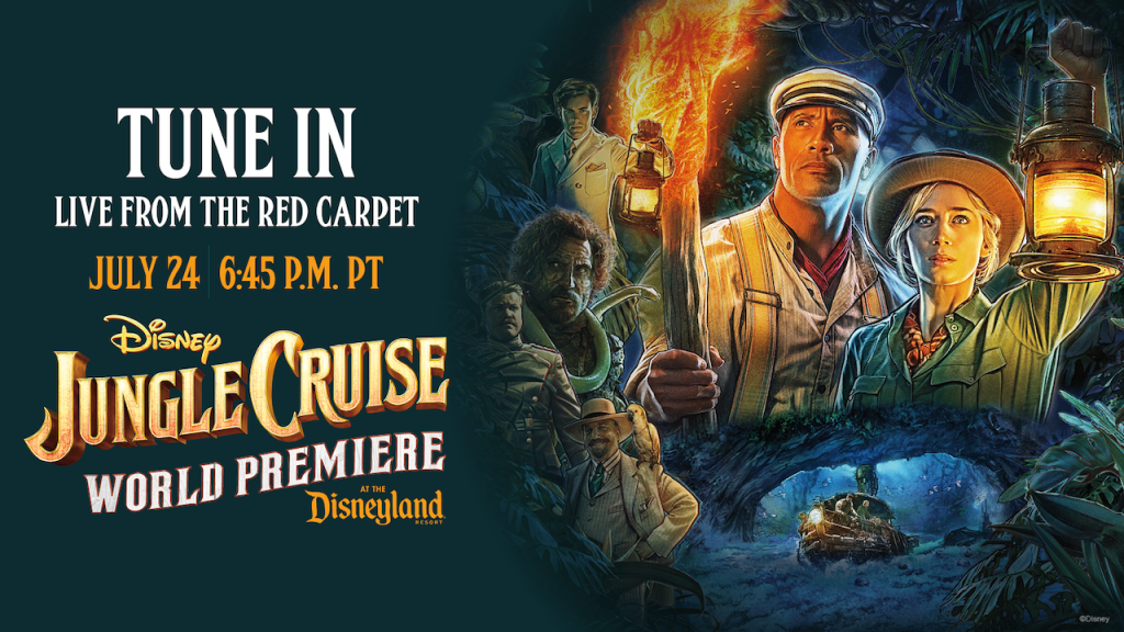 """Graphic for the live stream of Disney's """"Jungle Cruise"""""""