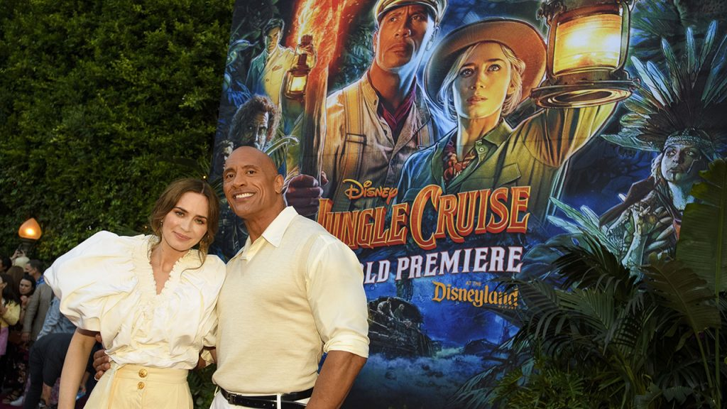 Dwayne Johnson and Emily Blunt arrive at the World Premiere of Disneys Jungle Cruise at Disneyland Park